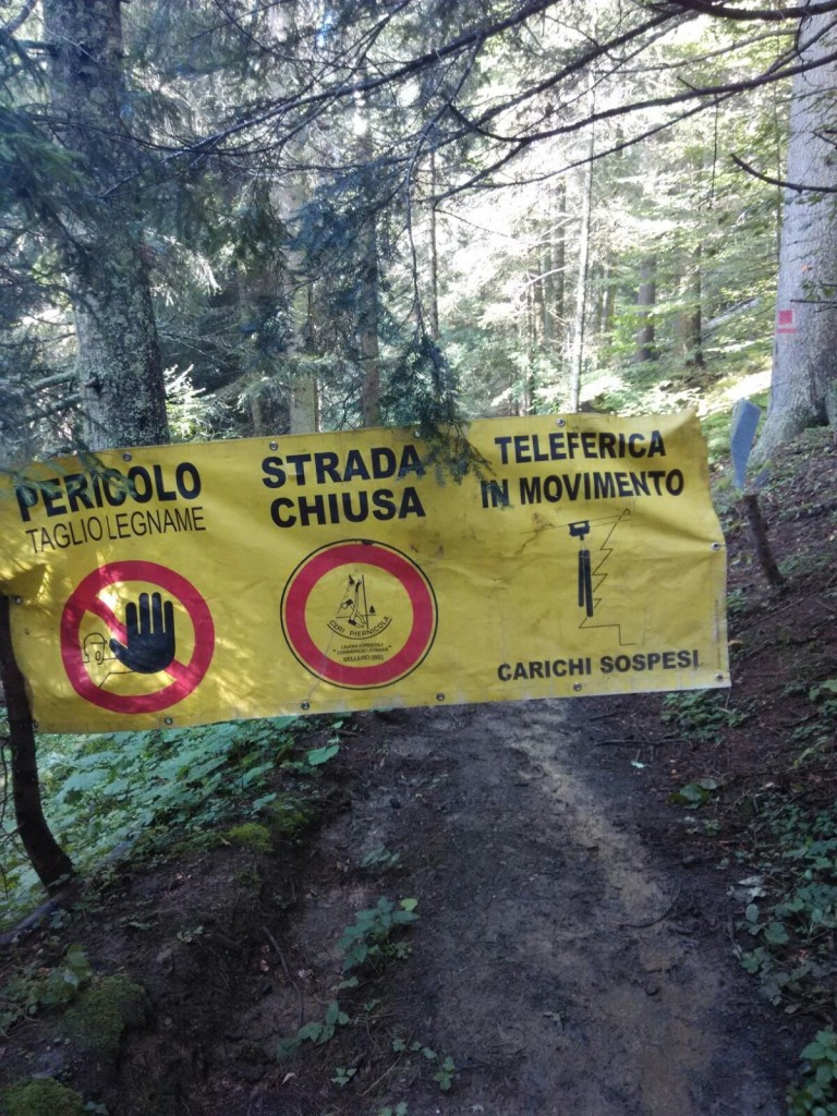 chiusura sentiero 248 Calalzo